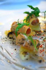 Entree / Appetizer - Le foie gras mi-fume en copeaux sur une salade de pomme de terre aux raves (~Nisa) Tags: travel food french hongkong holidays asia potatosalad appetizer macau radish finedining nisa entree foiegras hotellisboa robuchonagalera missyglutton