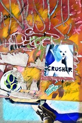 Miss Crusher Mary (InertiaCreeps) Tags: foundart hackedart graffiti slaps slapart slaptag newsbox missmollyco crusher demkicksdoe kicks risingsun spicybasil denver