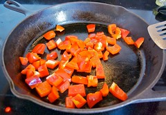 bell peppers sauteing for tofu scrambler