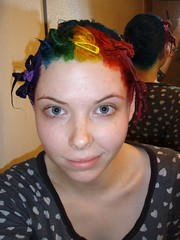 Yay! Rainbow hair dyes! (Megan is me...) Tags: pink original red portrait cute green apple colors girl smile fashion yellow self hair happy photography grey glasses spring amazing cool rainbow eyes colorful neon pretty ray colours russell mckay bright turquoise unique oneofakind ooak awesome flamingo meg gray violet plum megan style smiley pirate kawaii poppy jerome mandarin colored earrings dye ban swords punky dyed brightyellow flamingopink megface rainbowoutfit rainbowclothes meganisme meganyourface