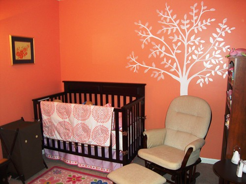 Crib, Mural, and Rocking Chair