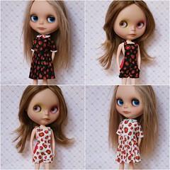 Strawberry dresses, strawberry shortalls.