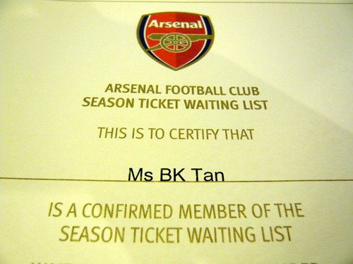 I'm officially on the Arsenal Season Ticket waiting list!