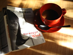 breakfast with murakami (.emong) Tags: fiction shadow cup japan canon book object spoon novel harukimurakami norwegianwood malufet