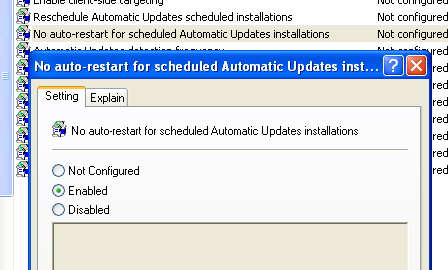 disable automatic reboot after windows update
