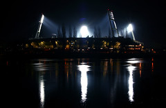 Weserstadion at night (Nuuttipukki) Tags: night reflections river germany football advent shot stadium soccer explore bremen weser grounds floodlight bundesliga flutlicht bayer leverkusen werder weserstadion svw fluchtlichtmasten