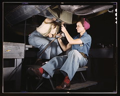 Women at work on bomber, Douglas Aircraft Company, Long Beach, Calif.  (LOC) (The Library of Congress) Tags: california red woman usa airplane table women october rivets rosietheriveter aircraft wwii palmer slidefilm jeans worldwarii longbeach 1940s transparency ww2 4x5 lf libraryofcongress 1942 douglas bomber largeformat longbeachca worldwar2 redsocks teamwork wartime snood transparencies riveter calfornia womenatwork airtool historicalphotographs womenworkers femaleworkers xmlns:dc=httppurlorgdcelements11 douglasaircraftcompany october1942 dc:identifier=httphdllocgovlocpnpfsac1a35341 alfredtpalmer rivetgun alfredpalmer pinkturban commons:event=commonground2009 adactio:post=1639