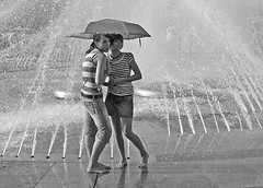 happy days of summer 1 (missis_jones (almost back)) Tags: girls summer blackandwhite bw water fountain girl umbrella germany munich mnchen bayern deutschland bavaria wasser sommer brunnen schwarzwei mdchen stachus karlsplatz schirm superbmasterpiece