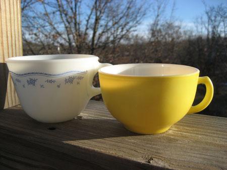 Pyrex Morning Blue & Yellow Cups