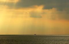 out at sea, dorset (www.simonhigginbottom.co.uk) Tags: uk sunset sea england sky simon beach water clouds landscape evening coast boat nikon united kingdom dorset hive burton bradstock higginbottom