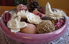 Spring Pot Pourri (Gr'maLex catching up..again) Tags: friends memories potpourri pinkbowl itwasmoms lacedoilycrochetedbygrandma
