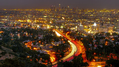 Downtown LA from Mulholland (Menetnasht) Tags: california leica light night lumix drive la us los aperture stream long exposure downtown angeles bowl panasonic southern 101 hollywood freeway shutter overlook mulholland fz50 5photosaday superaplus aplusphoto top20la