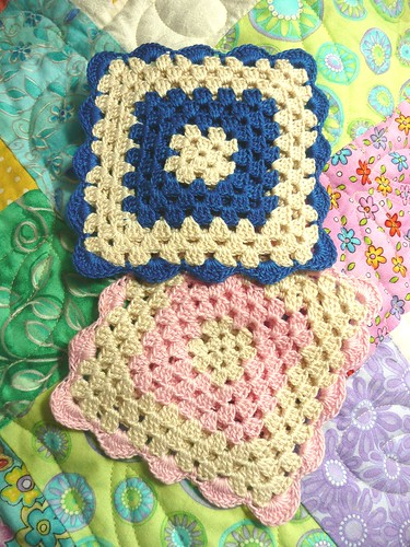 Thread Crochet Granny Square Coasters