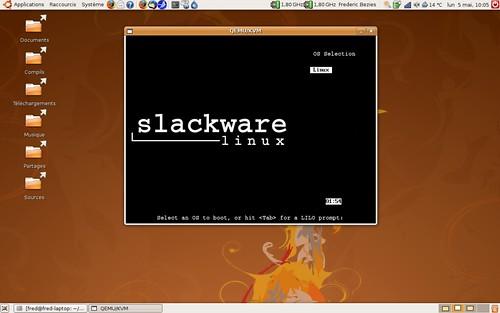 l'écran de démarrage de la slackware 12.1