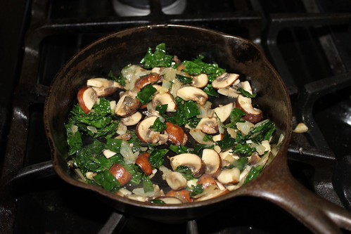 mushroom and kale frittata making