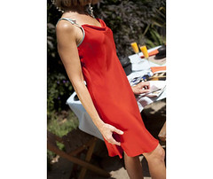 coral-red-silk-dress-1 (lignedesoie) Tags: resortwear silkgown redsilkdress