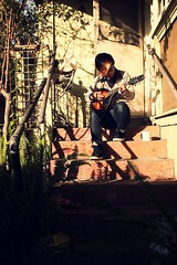 044 (Tiki Tako) Tags: morning selfportrait lesbian back sydney hipster mandolin australia step innerwest hurlstonepark