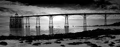Clevedon Pier, Somerset (Corica) Tags: sky blackandwhite bw panorama beach clouds photoshop somerset panoramic clevedon clevedonpier panoramamaker corica canon1755 canon400d