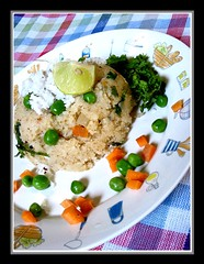 Upma (shubhangi athalye) Tags: food india lemon colorful coconut homemade snack vegetarian carrot mumbai semolina filling indianfood matar greenpeas upma