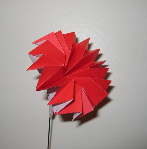 すべての折り紙 プレゼント 折り紙 折り方 : 折り紙で作ったカーネーション ...