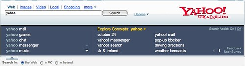 Yahoo Search Assist in UK