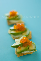 bright hors d'oeuvres (mwhammer) Tags: blue stilllife food orange white color green texture ceramic happy avocado cheery bright display object cucumber salmon explore multiples plates roe flatbread cremefraiche propstyling foodstyling melinahammer tabletopstyling