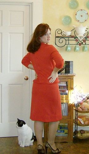 60's wool knit skirt and top, buttons up the back.  A bit big on me~