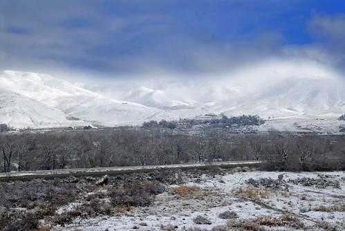 Snow falls in Boise
