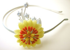 Yellow, Blue and Red Vintage Flowers Headband