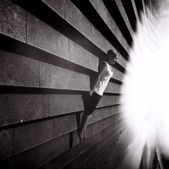 stateless (Celeste) Tags: 6x6 film girl beautiful stairs holga lightleak happyaccident abduction 120n ilfordfp4 celesteromero