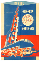 Roberts Brothers Drive-In (jericl cat) Tags: blue orange restaurant losangeles brothers architectural drivein moderne artdeco roberts carhop wilshire rendering strealined