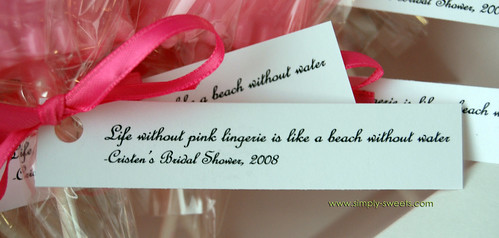 pink lingerie bridal shower favors tag