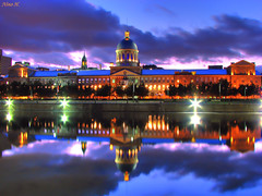 March Bonsecours at blue hour (Nino H) Tags: old blue canada reflection architecture night clouds port buildings bravo long exposure montral market quebec montreal qubec hour nuages nuit march hdr bonsecours rflexion vieu supershot magicdonkey goldenphotographer bratanesque