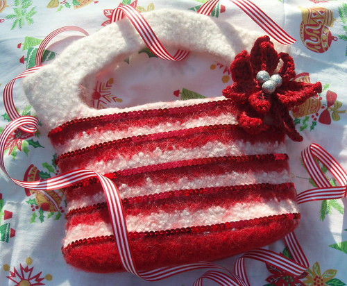 Candy Striper FElted Purse