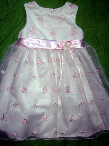 Girls White Chiffon Dress with Pink Flowers Embroidery