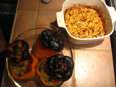 Stuffed Peppers and Fresh Roasted Corn