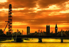 the view from Somerset House (Dan65) Tags: uk bridge england sky orange 6 london eye tower westminster wheel silhouette yellow thames river gold big bravo ben parliament ferris explore