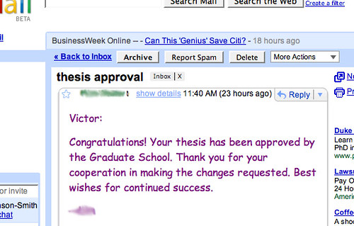 A screenshot from Gmail, in which the Graduate School editor approves my thesis.