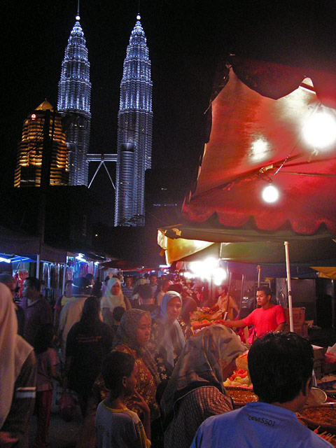 Petronas Towers from Kampung Baru Night Market