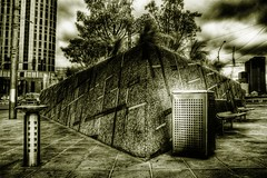 green wedge strategy (mugley) Tags: city trees urban plants monochrome clouds buildings ir nikon skyscrapers d70 australia melbourne victoria southbank filter infrared planter drinkingfountain hdr pavers rubbishbin cokin 3xp p007 1855mmf3556gii