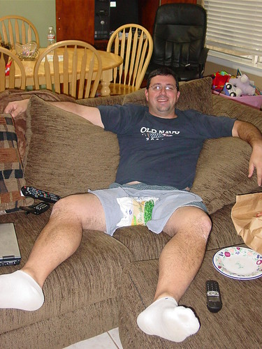 My friend Tim, day after his vasectomy
