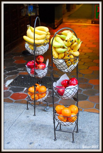 Fruits on a sidewalk, Manhattan, New York