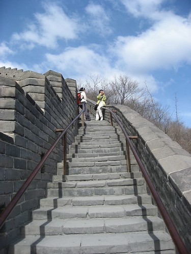 The climb of rather steep in some sections of the Great Wall