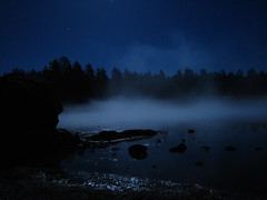 Mist on moonlit lake (Boonlong1) Tags: longexposure nightphotography blue trees moon lake nature water night forest lowlight nightshot moonlight medow nightonearth earthnight the4elements colorsofthenight tungastenfilter