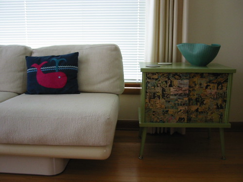 right side of couch with little table