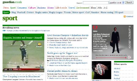 Guardian sports site