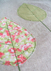 leaves or trees? (raspberryfairy) Tags: pink trees green leaves pattern linen cotton plain stitched