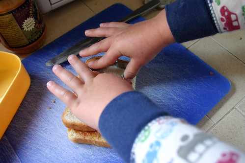 Bento Lunch Prep: My helper cuts the sandwich