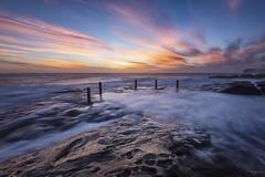 Colour Posts (Crouchy69) Tags: sunrise dawn landscape seascape ocean sea water coast clouds sky rocks posts ivor rowe pool coogee sydney australia