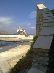 CHURCH on a LITTLE ROCK (dimitra_milaiou) Tags: sea sky white church nature lines stone architecture clouds island grey one 1 europe view hellas chapel greece summertime split parallel chora andros cyclades dimitra  horaandros     plakoyres agiathalasini milaiou
